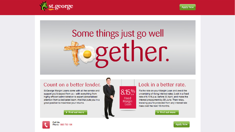 St George Bank Margin Lending microsite
