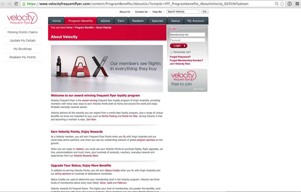 Virgin Australia 'Velocity' website