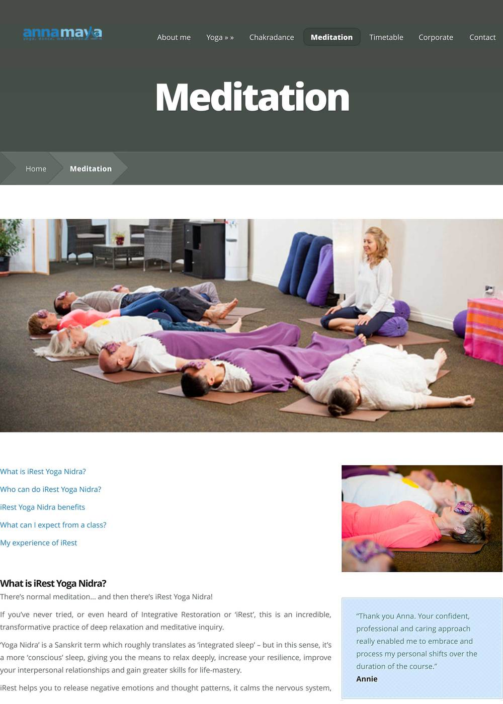 Yoga teacher website copy