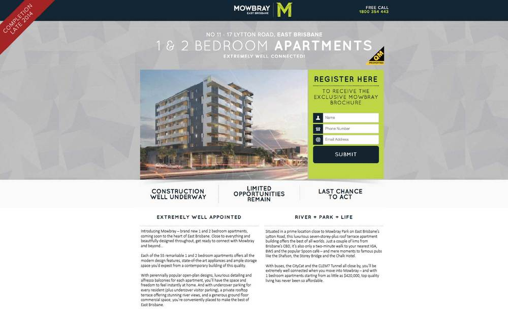 Mowbray apartments landing page
