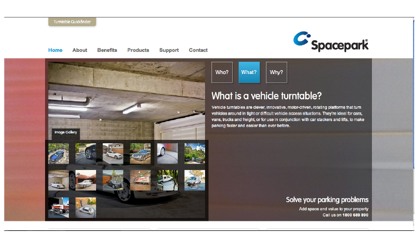 Spacepark vehicle turntable website