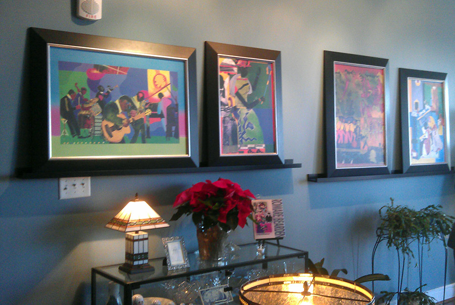 The Jones's display of Romare Bearden works.