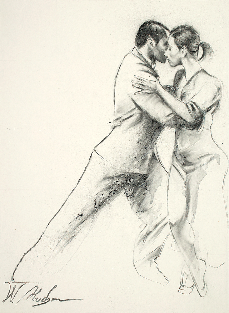 The artwork, Streets of Tango, depicts Argentine Tango dancers. Charcoal work by artist, W. Hudson.