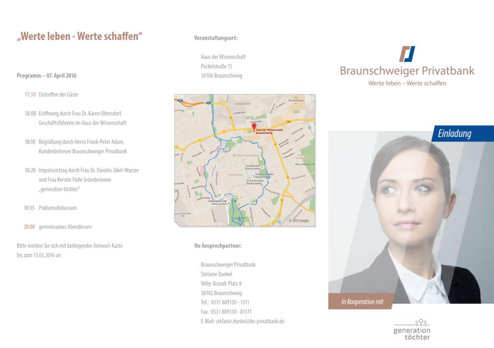 Einladung Braunschweiger Privatbank Werte leben Werte schaffen