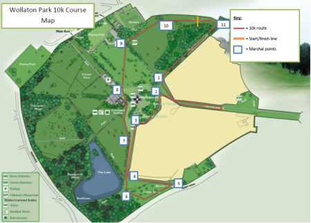 WOLLATON PARK 10K RUN COURSE MAP