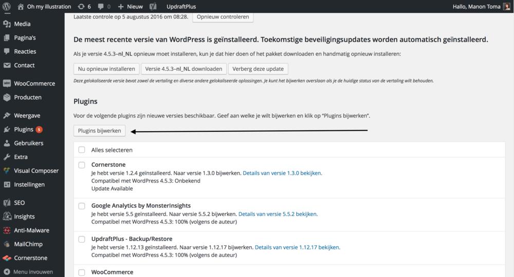Updaten moet zeer regelmatig gebeuren binnen WordPress...