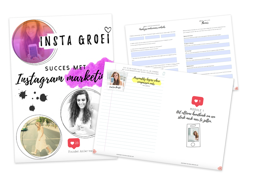 Voor de  online cursus  Instagram marketing (InstaGroei) van de Nederlandse Instagram expert The Social Good Girl ontwierp ik het complete werkboek met interactieve invulvelden in Adobe Indesign.