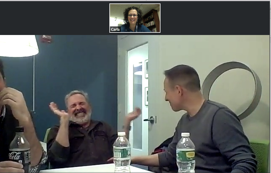 Chatting with some seriously funny storytellers.