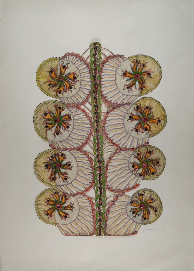 "Anna Zemánková, ""Untitled"" (circa 1970s), pastel, ink and embroidery on paper, 24.61 x 17.72 inches (photo courtesy of Cavin-Morris Gallery) (click to enlarge)"