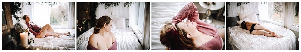cozy winter boudoir photography session | Indiana boudoir photography | sweater boudoir |