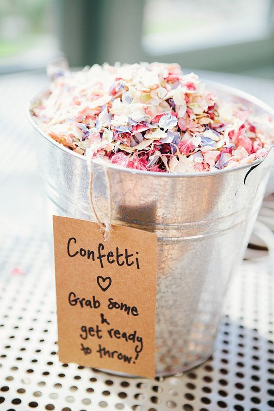 Confetti Self Serve! Image:http://whimsicalwonderlandweddings.com/2016/06/rustic-whimsical-woodland-floral-wedding.html
