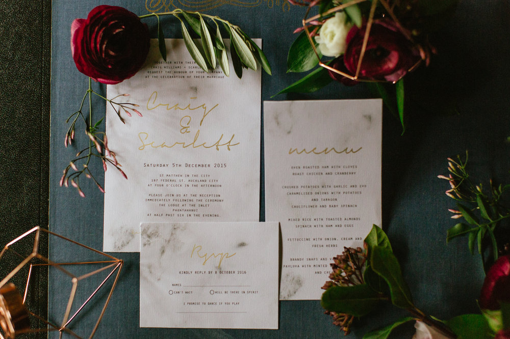 Purple Menu Invitation Photoshoot Geometric NZ Wedding Rose Ranunculas Wedding Florist Floral Designer Stylist Woodroyd Estate Berries Garden