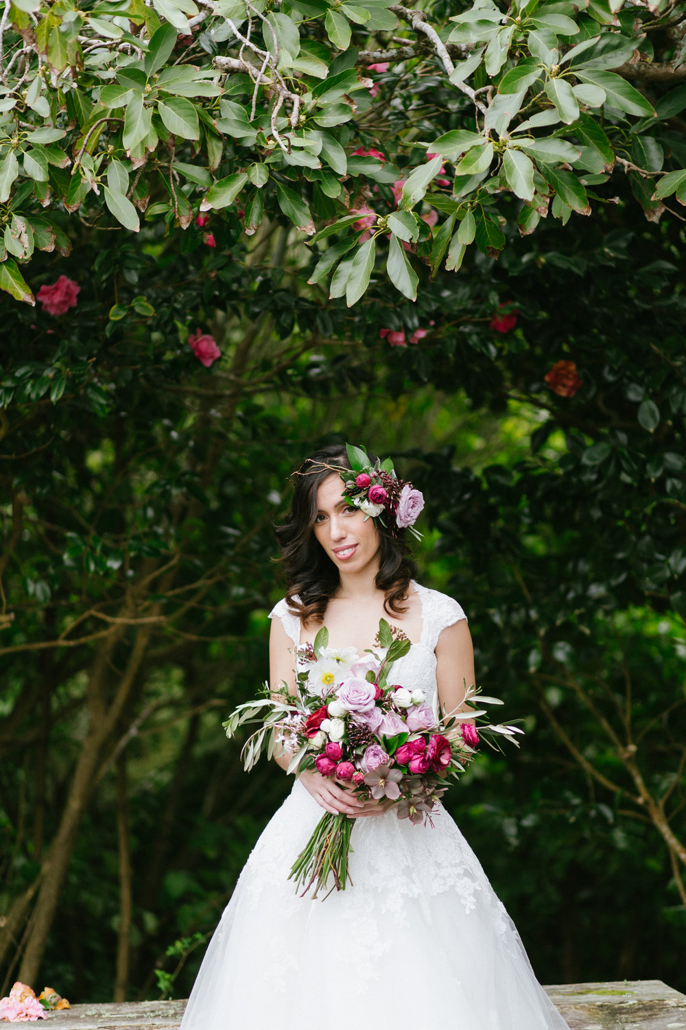 Purple Bouquet Bride Flower Crown Photoshoot Geometric NZ Wedding Rose Ranunculas Wedding Florist Floral Designer Stylist Woodroyd Estate Berries Garden