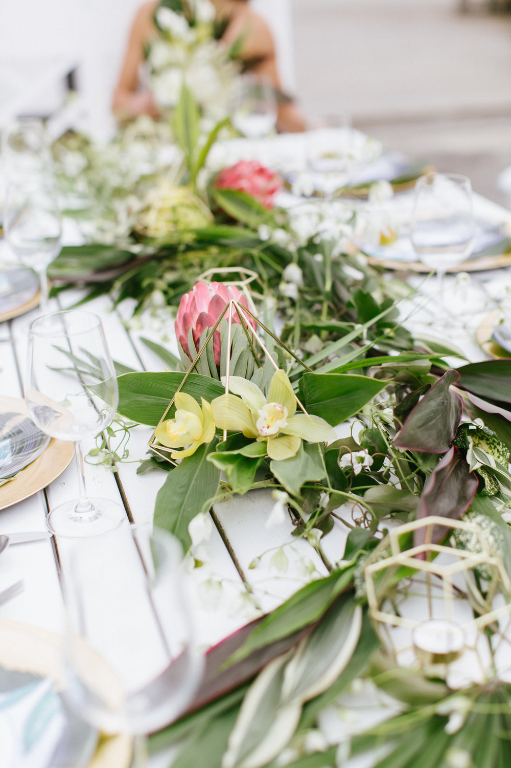 Tropical Wedding Protea Orchids Table Garland Geometric Wedding Monstera Photoshoot