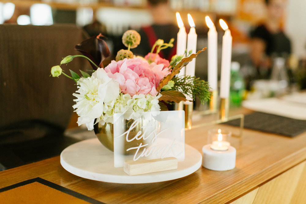 Floral Arrangement Table Flower Wedding Event Wellington NZ Peony Rose Centrepiece Confetti Love Styling Milk&Honey Gradulation Celebration Flowers