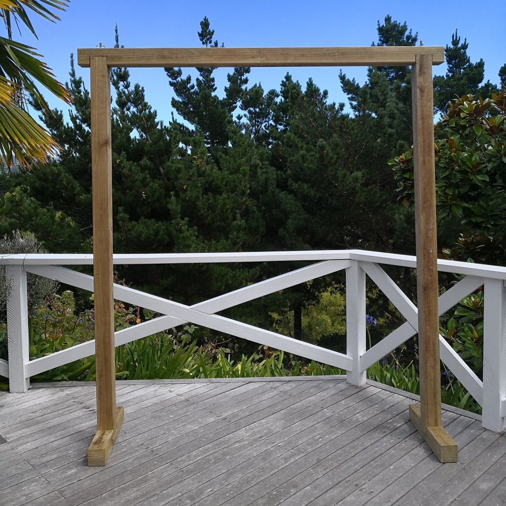 BASIC ARCH I $100  2150Hx2000W  Minimal wooden arch  Perfect for a rustic wedding and can easily be customised with florals, draping or with another backdrop.  *Breaks into 3 pieces for easy transportation & setup