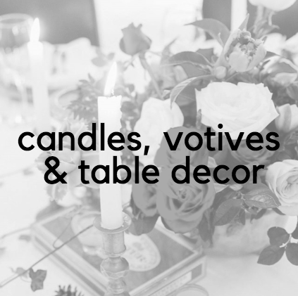 MIXED CANDLES, VOTIVES AND TABLE DECOR  A wide range of pieces available for hire.  Send through pictures of the styling you're inspired by, and I will return with the options available and pricing.  Option for TF to style on the day available at request.