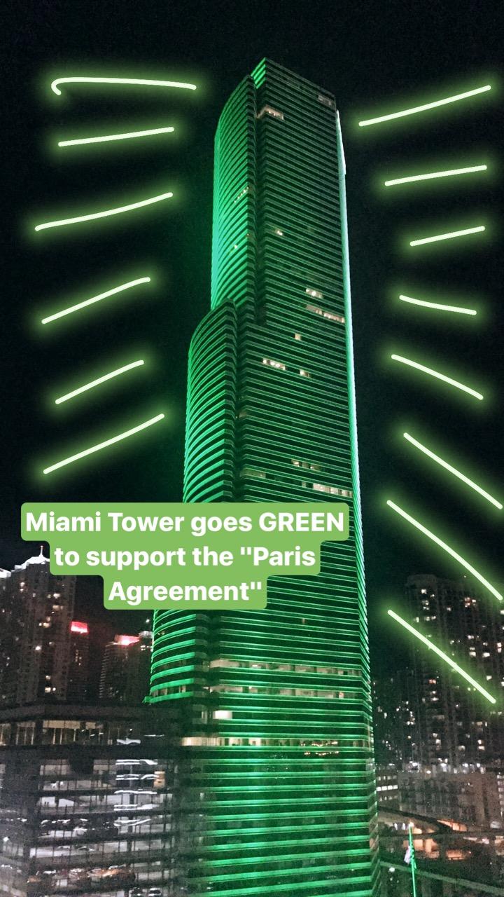Miami tower goes green to support paris agreement nadia bouzid miami tower platinumwayz