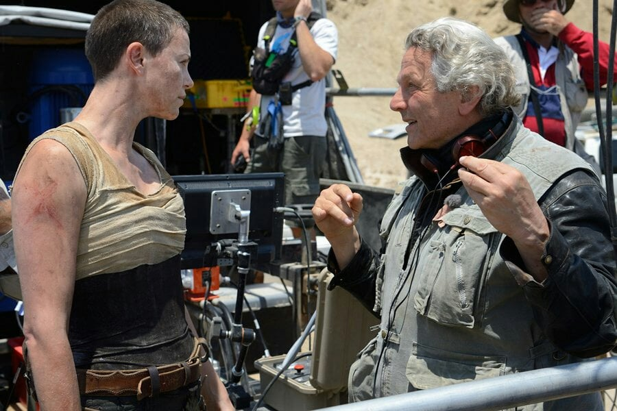 George Miller (right) on the set of Mad Max: Fury Road
