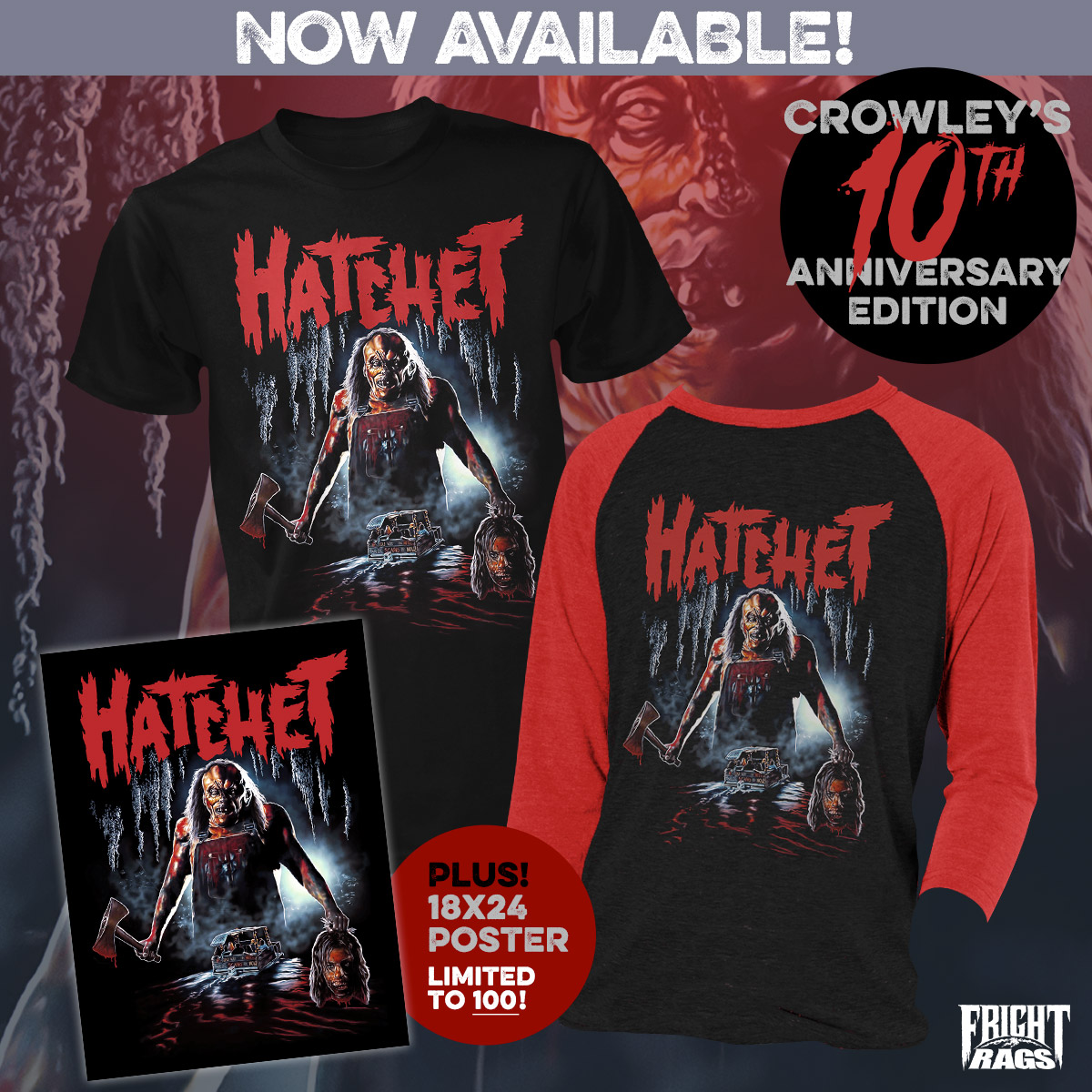 FRIGHT RAGS MERCH - Dawn of the Dead, Hatchet, & House of