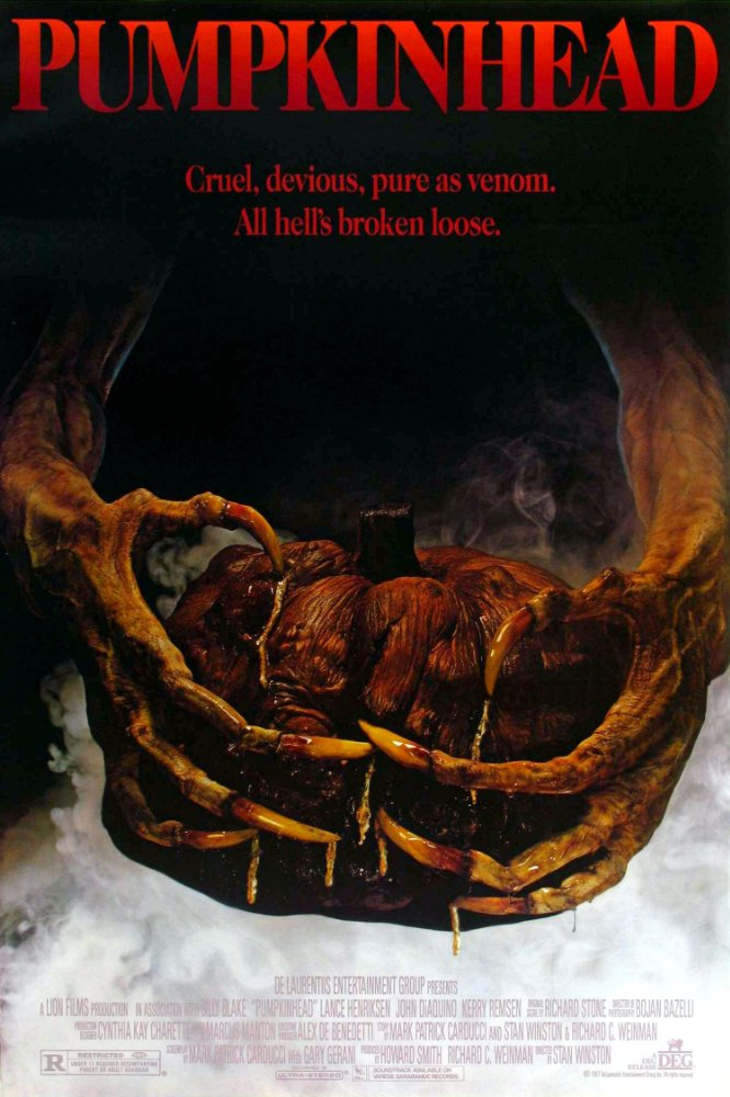 Synopsis - After his son dies in a hit-and-run accident, Ed Harley (Lance Henriksen) seeks revenge against the teenagers responsible. With the help of a local witch (Florence Schauffler), Ed summons the vengeful demon Pumpkinhead to hunt and kill the group of friends. But when Ed discovers a bond between himself and the creature, he begins to have second thoughts about employing the vicious monster, and he fights to end Pumpkinhead's murderous rampage before it is too late.  Initial release: October 14, 1988Director: Stan WinstonCinematography: Bojan BazelliBox office: 4.4 million USD (US)Screenplay: Stan Winston, Gary Gerani