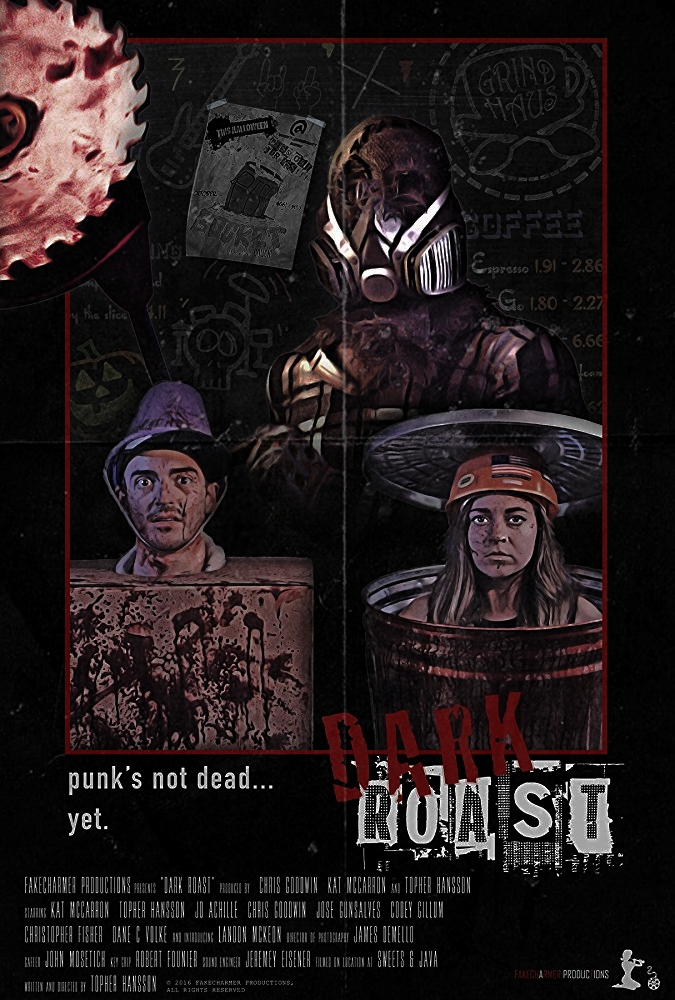 DARK ROAST - Two band mates stuck serving coffee on Halloween need to kill time before their biggest show yet. Too bad for them time isn't the only thing being killed.Director: Topher HanssonWriter: Topher HanssonStars: Kati McCarron, Topher Hansson, Bérénice Achille