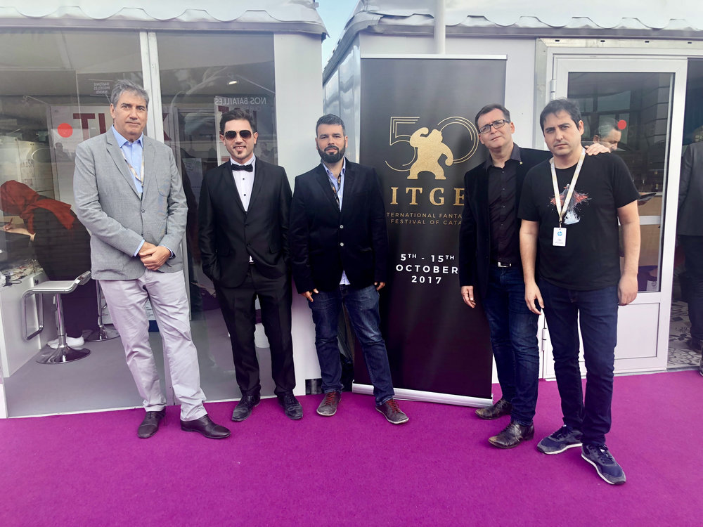 *  from left to right Ralph Haiek (INCAA president), Nicolas Onetti (Director), Luis Murillo Arias (scriptwriter), Angel Sala (Director of Sitges film festival) y Javier Fernandez Cuarto (Blood Window) during the presentation of the projecten at 71º Cannes film festival.