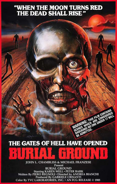 - Top tier Italian b-movie trash. 'Burial Ground' wastes no time cutting right to the chase. The dead have risen, and they want flesh....What follows is eighty-five minutes of pure madness. There's maggots, fire, exploding heads, decapitations.... everything you want and need in a Zomi flick...The dubbing is some of the worst I've seen in Italian cinema, and the overacting dial is cranked to the max. It's really a sight to see.This is definitely in my top Italian Zombi romps and I will be revisiting it frequently....This film got a raise out of me alright, but it has nothing to do with money.