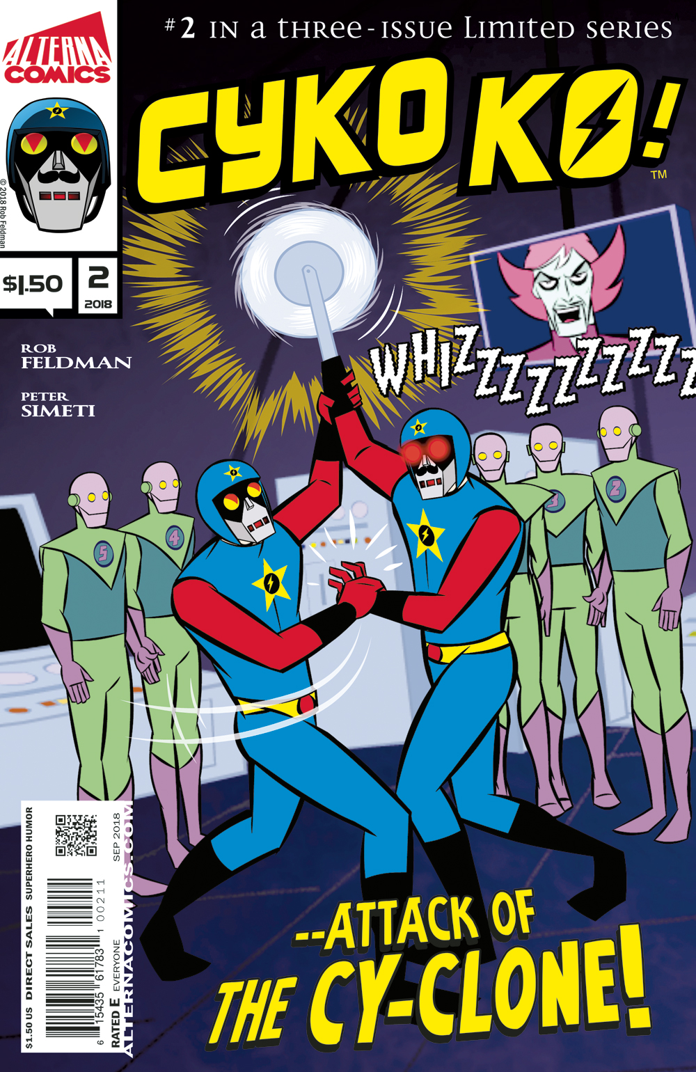 "CYKO KO! #2 of 3 - Another day, another job for SuperEarth's ""greatest"" hero Cyko KO! In this issue, Cyko's evil twin robot is on the loose and this ""Cy-Clone"" will stop at nothing to accomplish his impossible mission and take down one of Cyko's childhood heroes!(W/A) Rob Feldman(L) Peter Simeti$1.50, 32 pgs, Superhero/Humor, Full Color, All Ages"