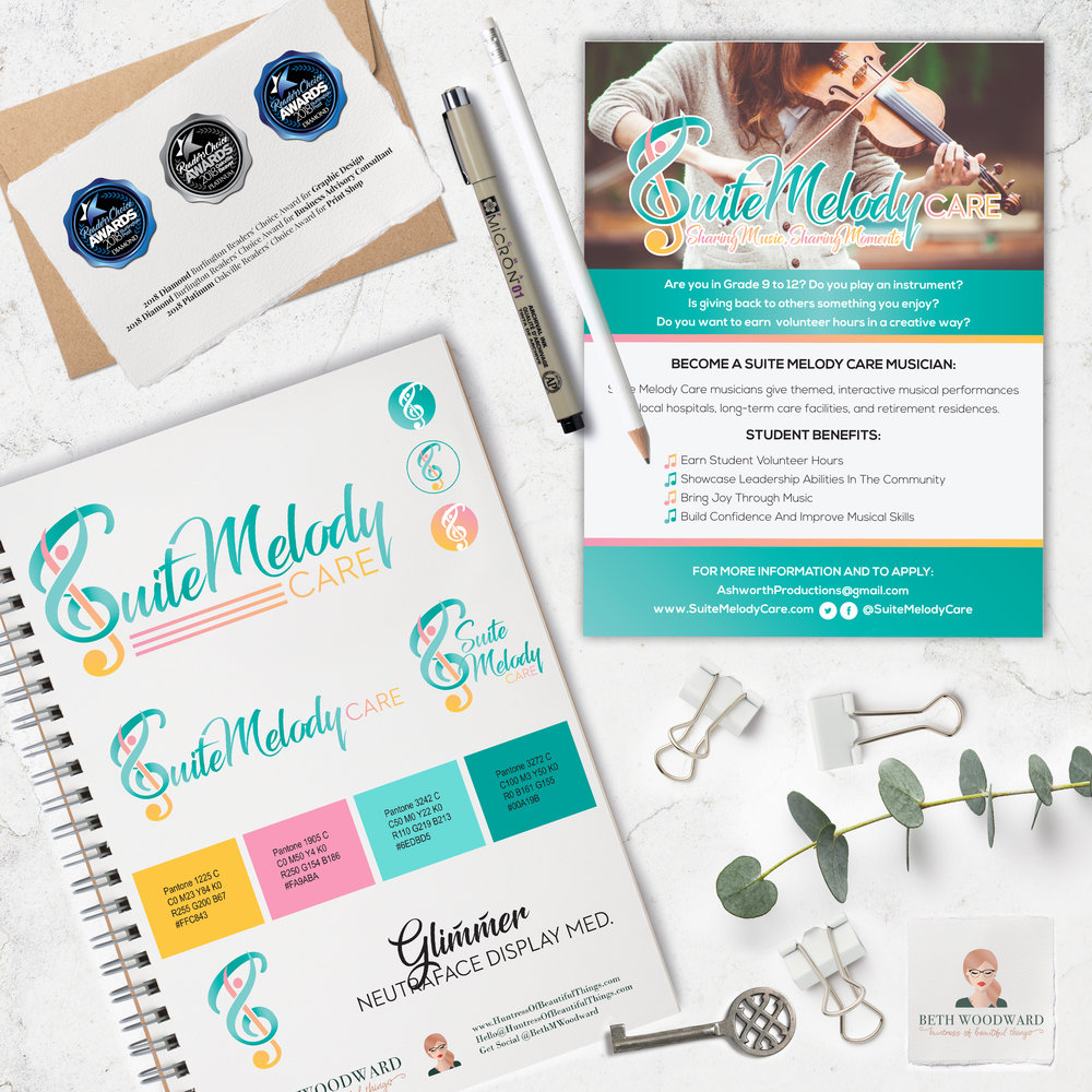 """""""Design was clean, professional, and eye-catching."""" - Working with Beth to create a fresh look for the Suite Melody Care program was a complete delight! She completely"""