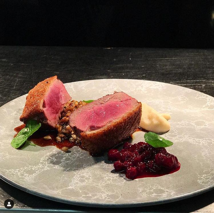 Beamsville Muscovy Duck Breast ; lingonberry, celeriac, farro, sour cherry + foie gras jús.