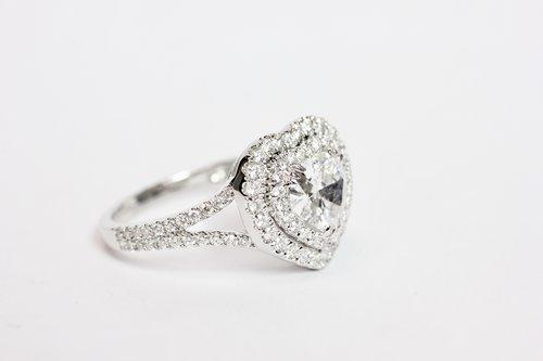 25759c6f04c8a2 18k Diamond heart with double halo ring. — J. Sampieri