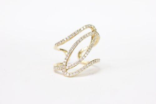 cfad0c46877e79 18k Yellow Gold Diamond Swirl Wrap Ring ...