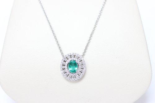 ecd048bc0fbb71 Columbian Green Emerald Diamond Pendant