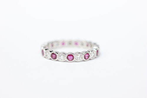 bfc9570570188c 14k gold ruby and diamond bezel eternity ring ...