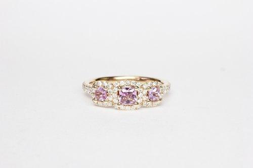 bb88e4eb4d3bdc 18k Rose gold diamond and pink sapphire 3 stone ring ...