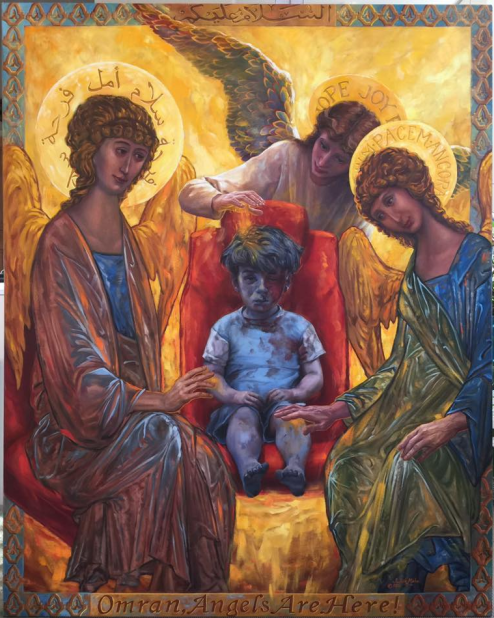 """Omran, Angels are Here"" painting by Judith Mehr. ( via )"
