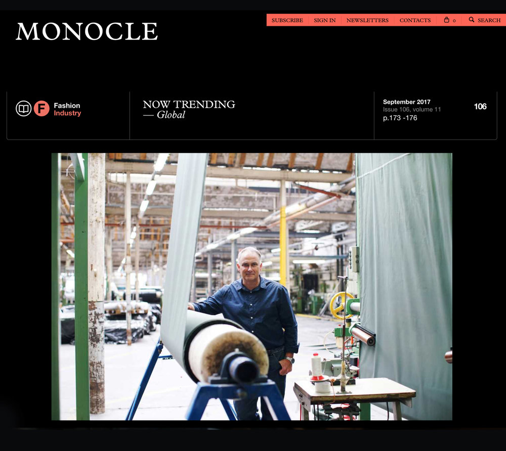For Monocle's September fashion issue I documented the Barbour jacket factory in Dundee, Scotland. Cheers to Matt, Jimmy, Gemma, Rhys and all at Waxed Cotton X