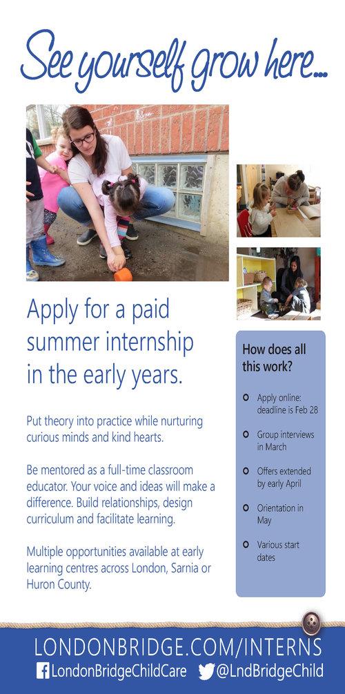 Summer Internships London Bridge Child Care
