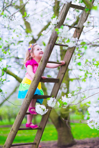 little girl climbing a ladder