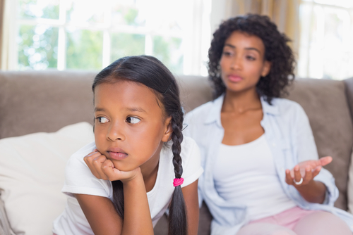 mom speaking to child who is not listening