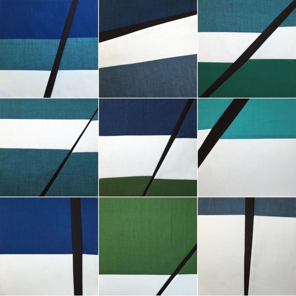 Selection of 9 daily squares for Fractured Blue Sky series, 2015. Notice the variety given the constraints of color and design.