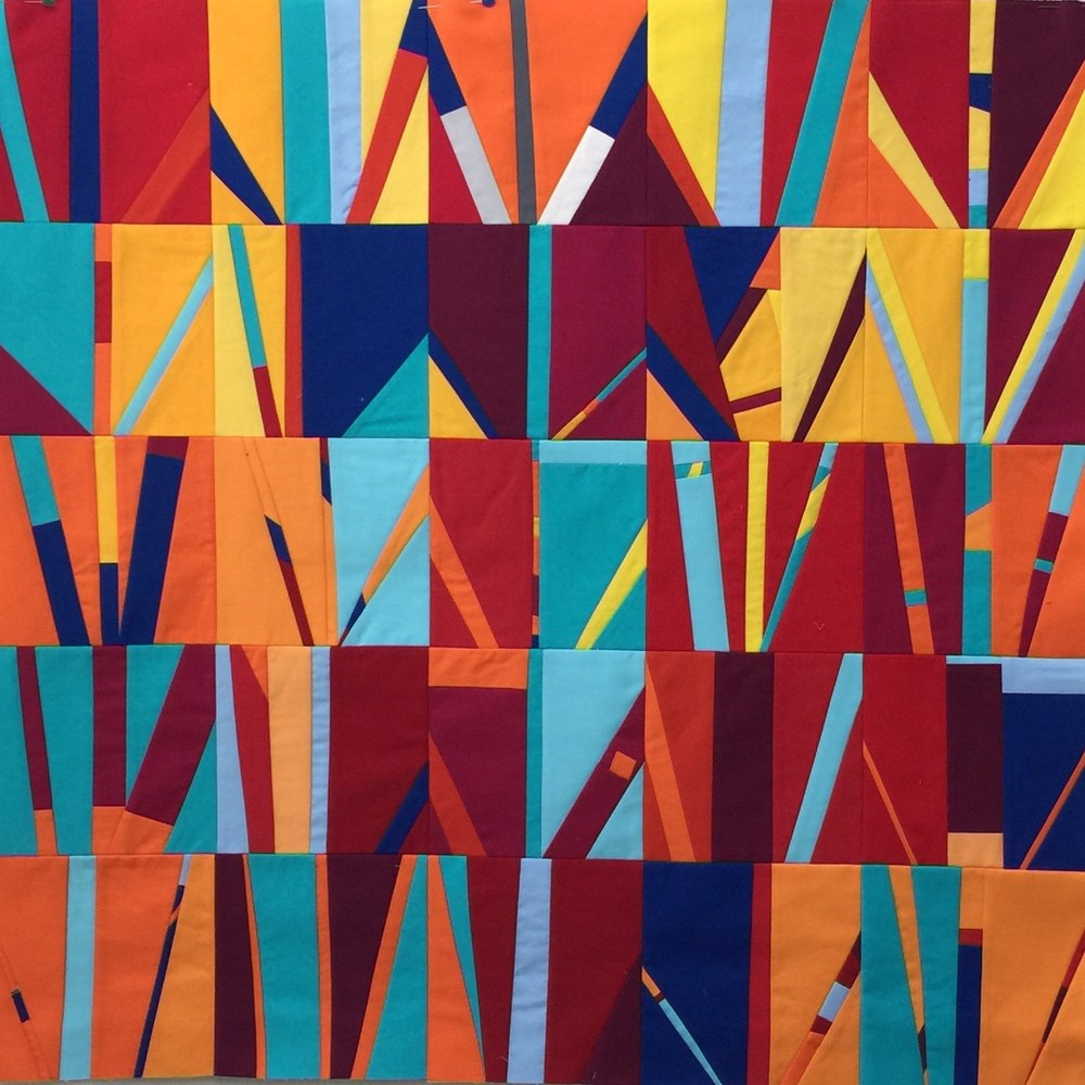 Day 100-126, Fire series, 2016. 30 inches by 30 inches. Kona cotton fabric.