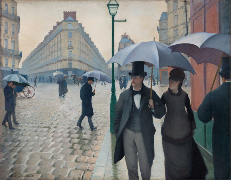 Rainy Day in Paris, 1877 by Gustave Caillebotte at the Art Institute of Chicago