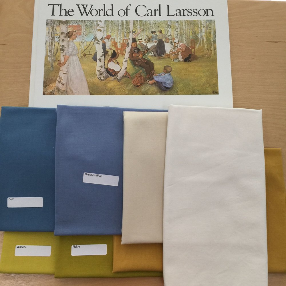 Larsson painting inspiration and fabric I pulled for the  Birch Forest  series