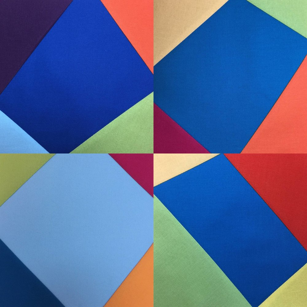 Four daily squares shown all together from my latest  Four Corners  series. As I said in last week's Studio Notes, I am pendulum swinging back to loads of bright colors after my more somber  Compassion  series.