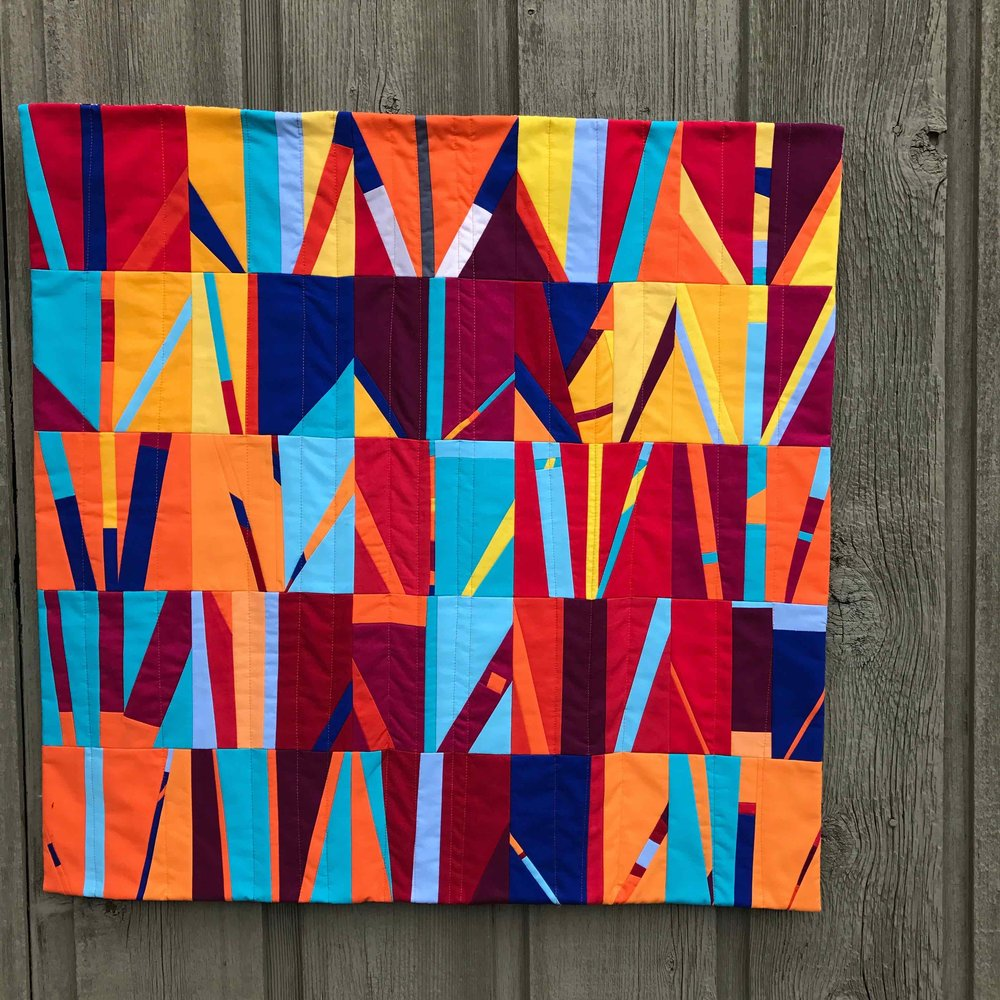 Fire. Days 101-125, 2016. Cotton fabric. 30 inches by 30 inches.
