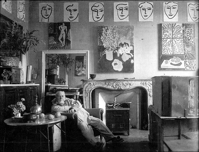 Matisse in his studio, 1948. Source: http://artistandstudio.tumblr.com/post/14867542783/henri-matisse-in-his-studio-in-the-south-of