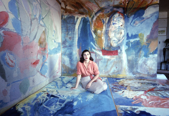 Helen Frankenthaler in her studio, 1956. Photo for Life magazine. Source: https://zoowithoutanimals.com/2015/08/31/inside-the-artists-studio-helen-frankenthaler/