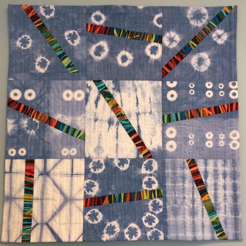 Blue Joe Shibori, 2014. Made with my hand dyed shibori. Part of Public Art Program 2014.
